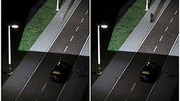 The camouflage effect (left) makes pedestrians invisible to drivers despite good lighting. Intelligent networked car and street lighting can cancel the effect (right) and increase safety. (Photo: Markus Breig, KIT)