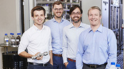 The founders team of Germany's best start-up company Ineratec: Philipp Engelkamp, Tim Böltken, Paolo Piermartini and Peter Pfeifer (from left to right, photo: Sandra Goettisheim, KIT)
