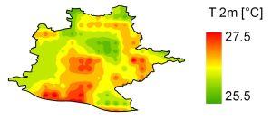 Modellrechnungen zu Temperaturen im Stadtgebiet Stuttgart. Grafik: Joachim Fallmann, KIT