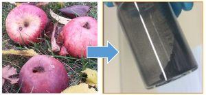 Das neue kohlenstoffbasierte Material für Natrium-Ionen-Batterien kann aus Äpfeln gewonnen werden. (Abbildung: KIT/HIU)