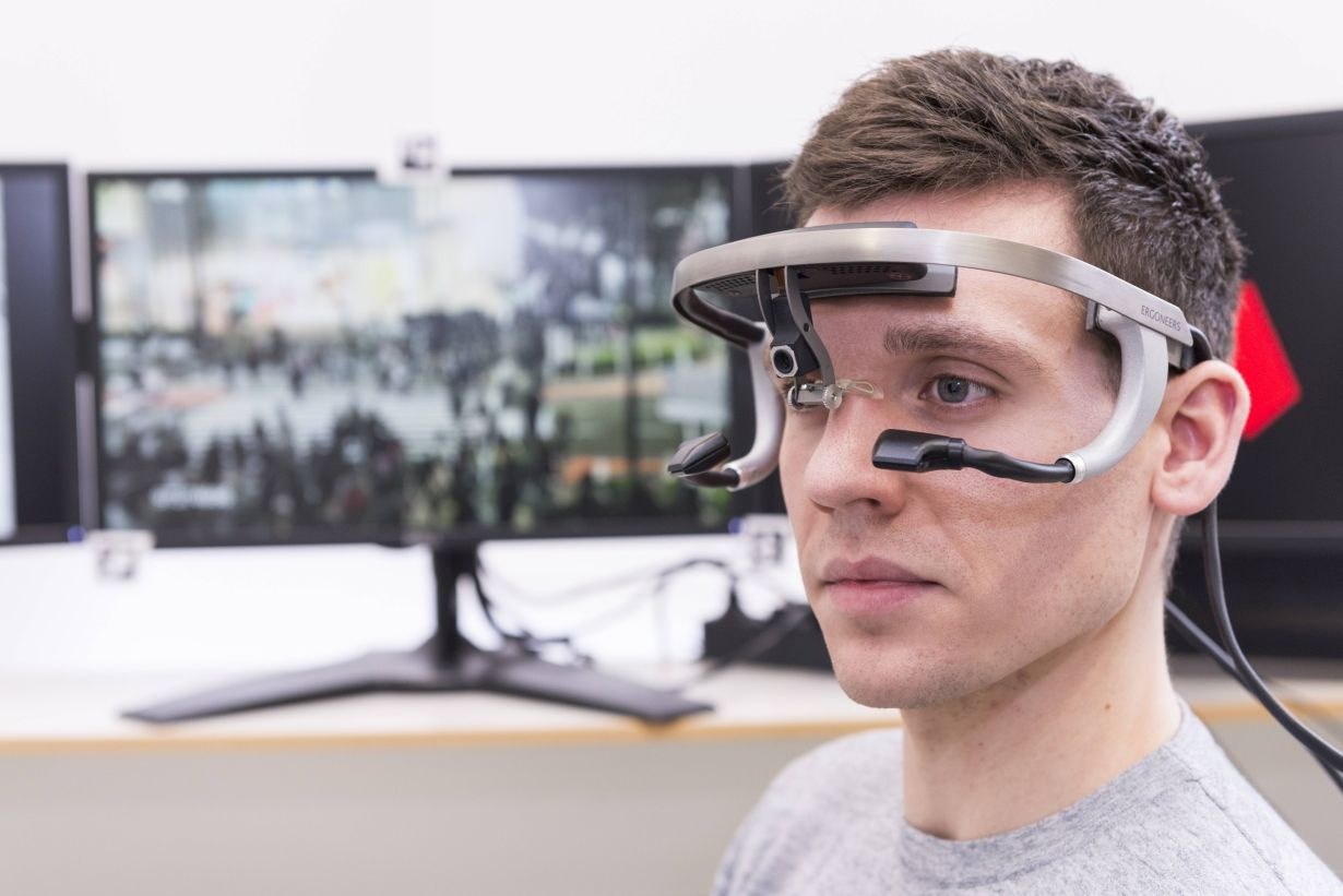 man with an eye tracking system on his head