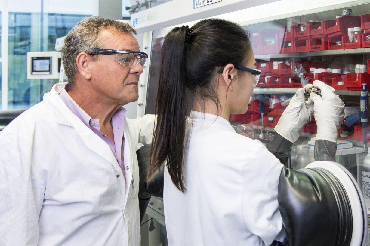 Professor Stefano Passerini und seine Mitarbeiterin Hyein Moon setzen an einer Handschuhbox eine Natrium-Ionen-Batterie zusammen. (Foto: Amadeus Bramsiepe, KIT)