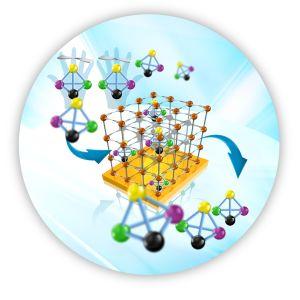 Ein molekulares Gerüst, das auf einer Oberfläche verankert ist, trennt die gewünschten Enantiomere ab. (Grafik: KIT-IFG)