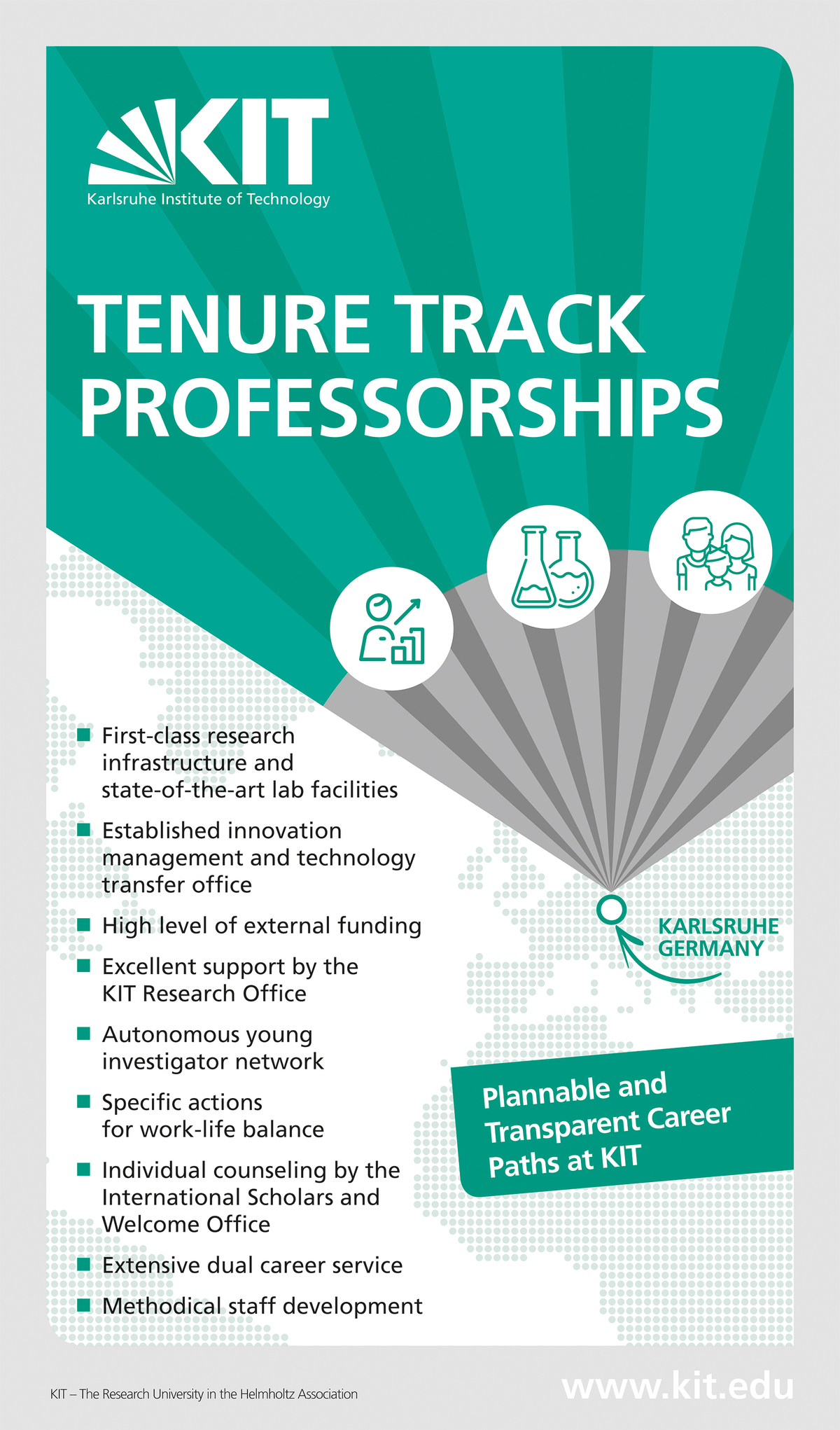 Advantages of a tenure track professorship at KIT